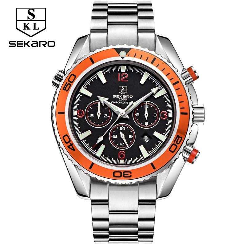 sekaro multifunctional watch men luxury brand automatic mechanical waterproof master sports large dial orange stainless steel