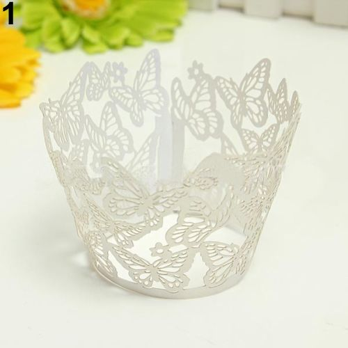 2017 New 12x Hollow Butterfly Cupcake Muffin per Case Wedding Party Liner Decor