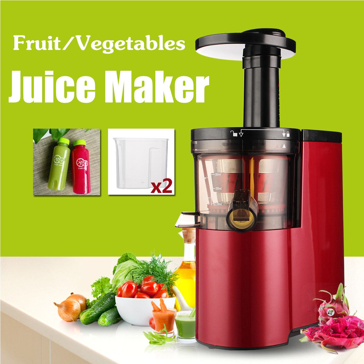 220V Electric Slow Juicer Fruits Vegetables Low Speed Juice Maker Extractor 150W Self-cleaning Ultra-quiet Red Squeezing