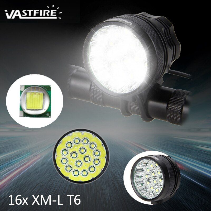 Waterproof Super Bright 20000 Lumens 16xT6 LED Bike Lights 3 Modes Front Bicycle Headlight+Rechargeable Battery Pack + Charger