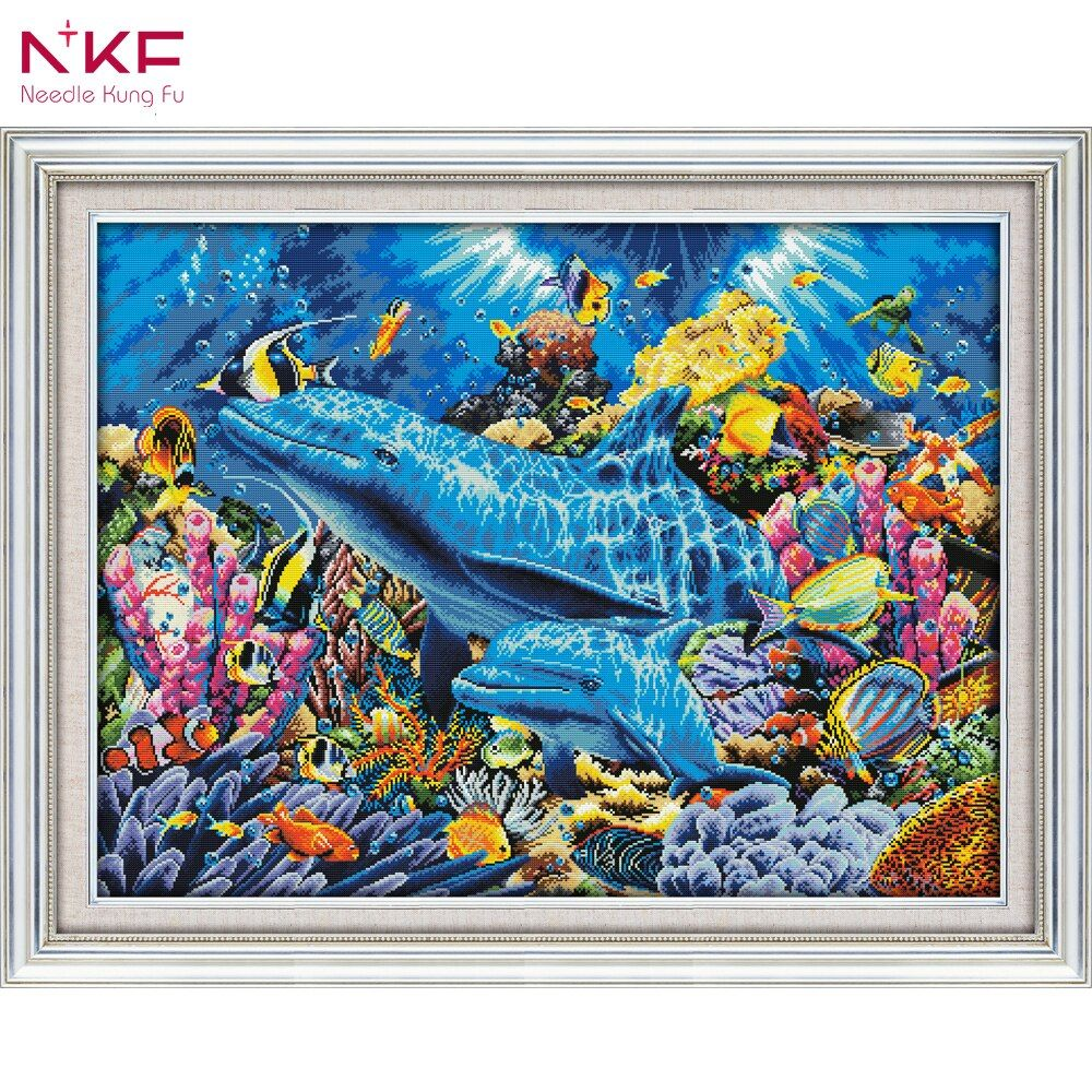 NKF D952 14CT 11CT Counted and Stamped Home Decoration Dolphins In The Ocean Cross Stitch Kits