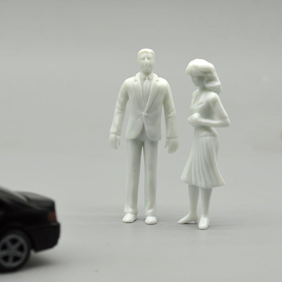 100 pièces 1/50 modèle réduit les gens blanc figure architectural matériaux de construction en plastique non peint passagers pour mise en train