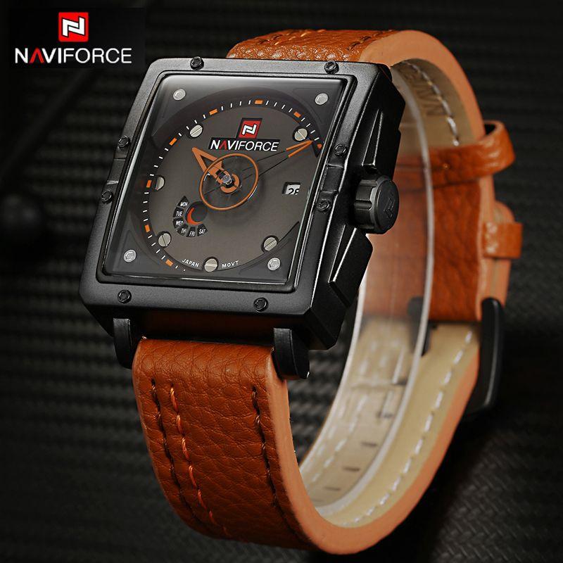 NAVIFORCE Men Watch Top Brand Luxury Casual Quartz Watch Dive Leather Sport Relojes Hombre Relogio Masculino Clock Gifts for Men