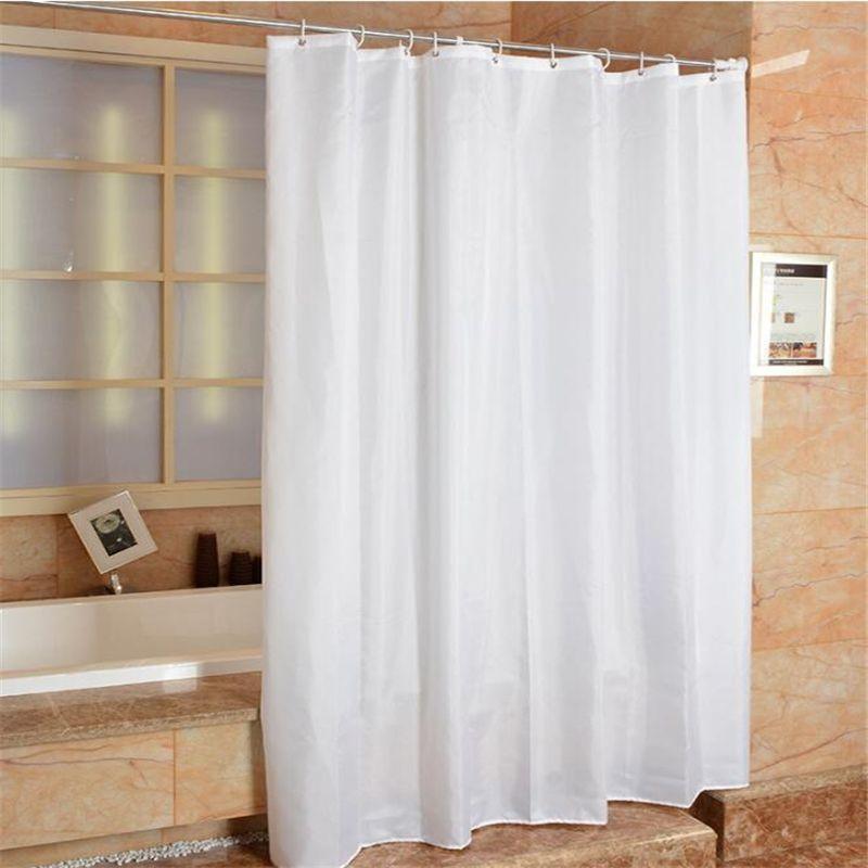 De haute qualité hôtel-spécifique blanc rideau de douche polyester tissu bracelet salle de bains rideaux blanc salle de bains Comme cortinas de chuvei