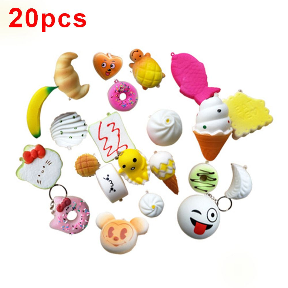 20Pcs/lot Squishy Slow Rising Squeeze Lovely Cute Soft Mini Bread Cake ice Cream Toy Phone Straps Kids Wholesale