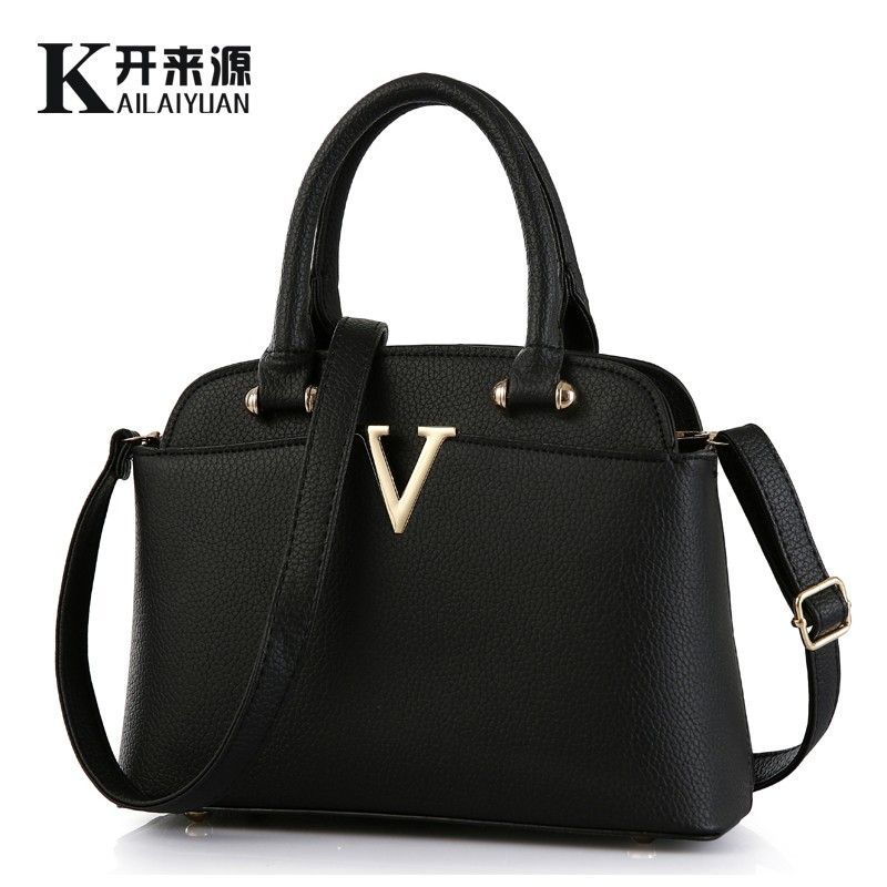 KLY 100% Genuine leather Women handbags 2018 New Ms fresh package of medium fashion handbags Shoulder Messenger Handbag