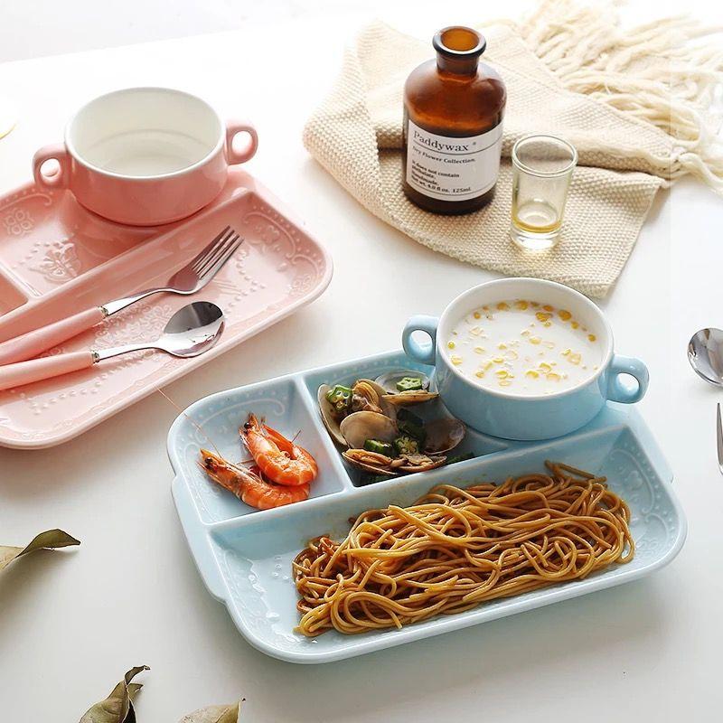 Nouveau en céramique enfants vaisselle infantile mignon alimentation assiette fruits plats enfants rose blanc divisé napperon enfant en bas âge assiette bol Chil