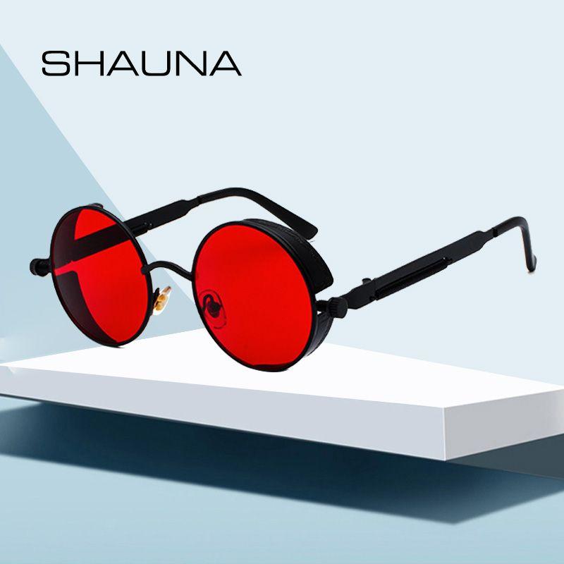 SHAUNA rétro femmes rondes Steampunk lunettes de soleil marque Design mode hommes Punk lunettes de soleil miroir/rouge teinté lentille UV400
