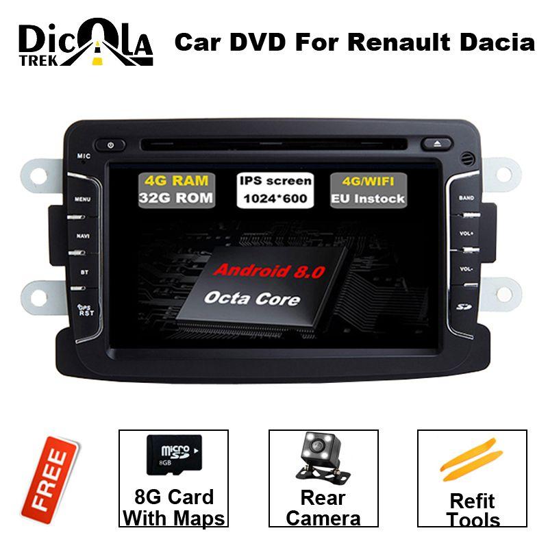Android 8.0 RAM 4G Car DVD Stereo Player GPS for Renault Duster Dacia Sandero Logan Dokker Auto Radio RDS GPS Glonass Navigation