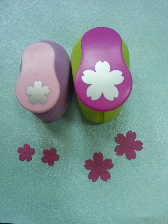 2 pcs (2.5 cm, 1.6 cm) sakura forme poinçon de métier set Coup de Poing Craft Scrapbooking école Papier Perforateur eva trou poinçon livraison gratuite