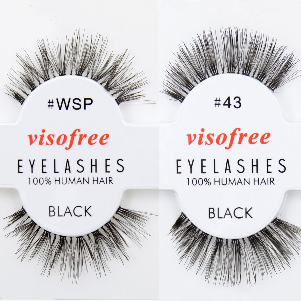 Free DHL 120 pairs Visofree Wispies Eyelashes Human Hair Eye Lashes Black Wholsale