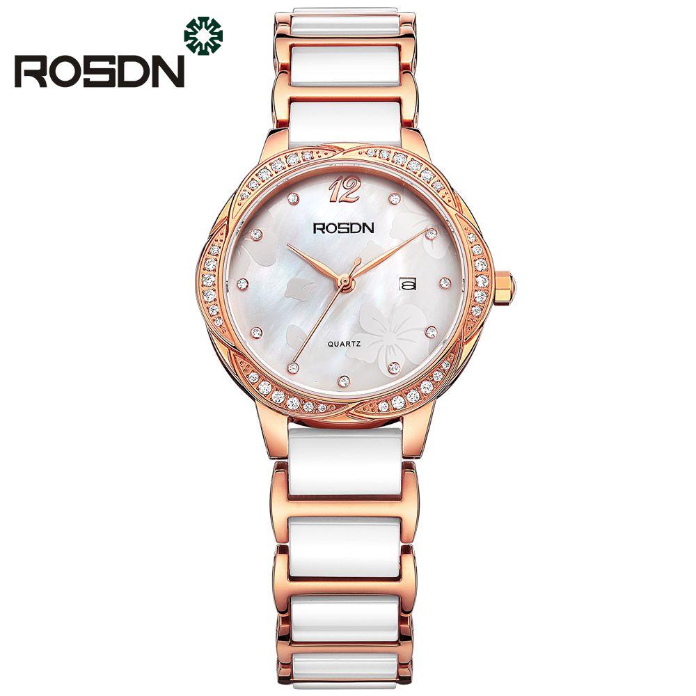 luxury watches for women ROSDN brand ladies wrist bracelet watch gift set waterproof ceramic band sapphire crystal quartz watch