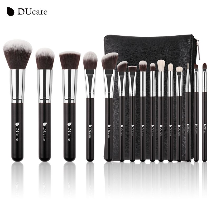DUcare Brand 15 PCS Makeup Brush Set Professional Make Up Beauty Blush Foundation Contour Powder Cosmetics Brush Makeup