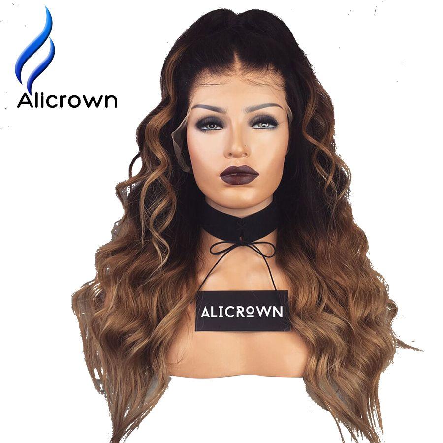 Alicrown 1B/27 Ombre Color del Frente del cordón Pelucas Para Las Mujeres Negras Onda del cuerpo de Remy Del Pelo Brasileño Pelucas de Pelo Humano Con El Bebé pelo