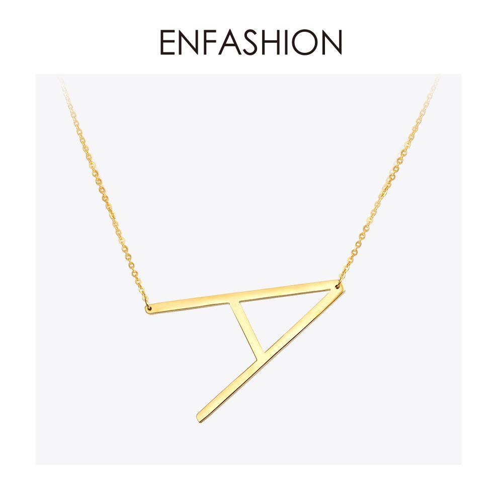 Collier à lettres EnFashion collier à pendentifs initiaux Alphabet couleur or collier ras du cou en acier inoxydable pour femmes bijoux