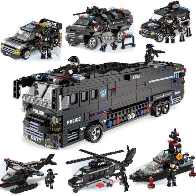Military Series Police Building Blocks Kids Assembling Urban Weapons Aircraft Car <font><b>Boat</b></font> Dolls Boy Toy Compatible Legoe