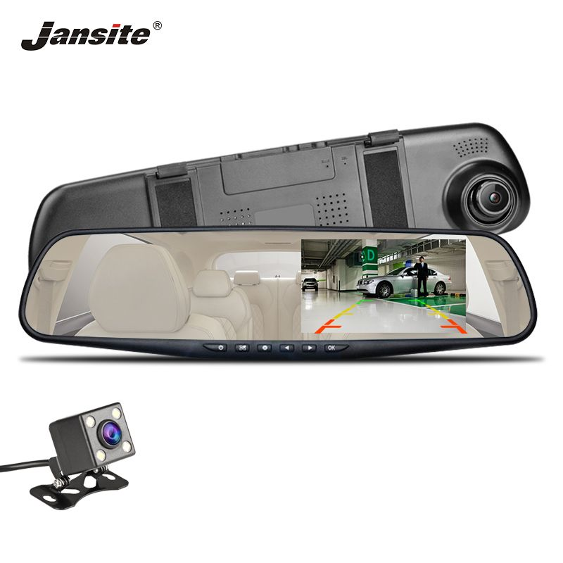 2019 New Jansite Car DVR Dual Lens Dash Camera 4.3 inch Full HD 1080P Video Recorder Rearview White Mirror Auto Registrator