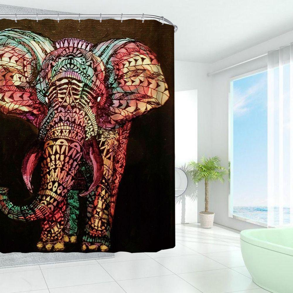 Высокое качество Творческий красочные слон Водонепроницаемый полиэстер Занавески для душа Для ванной ing Sheer Шторы дома Аксессуары