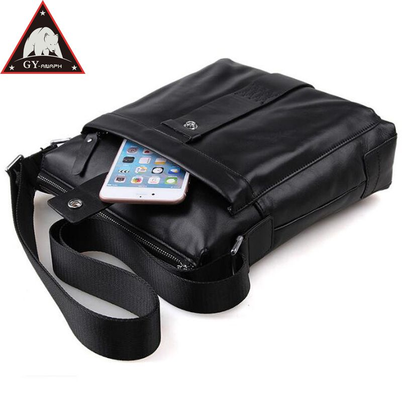 Anaph Genuine Leather Men Shoulder Bag Casual Messenger Bags Crossbody For Ipad In Black Cowhide Small Flaps Everyday