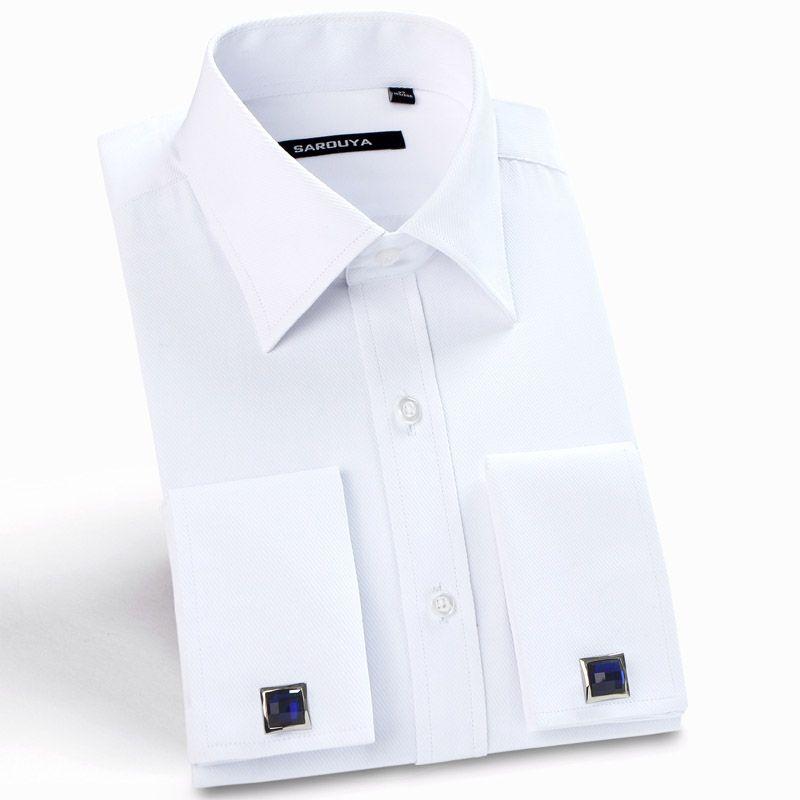 Chemises habillées classiques à col roulé pour hommes chemises habillées à manches longues en sergé à manches longues (boutons de manchette inclus)