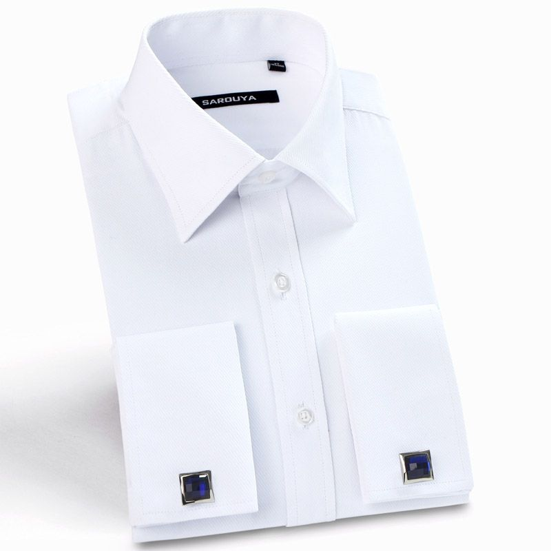 Mens Luxury French Cuff Solid Dress Shirts Spread Collar Long Sleeve Regular-Fit Formal <font><b>Business</b></font> Twill Shirt(Cufflinks Included)