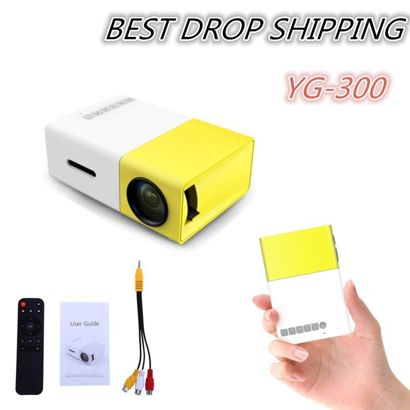 Drop shipping YG300 YG310 LED Portable Projector 400-600LM Audio 320x240 Pixels YG-300 HDMI USB Mini Projector Home Media Player