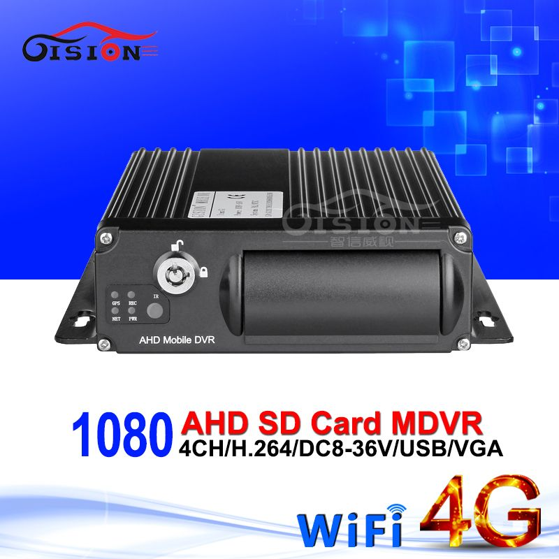 Online 4G LTE GPS Wifi Dual SD Card 4CH Mobile Dvr 1080 AHD Vehicle Car Mdvr Andriod/Iphone /PC Live Watching AHD Video Recorder