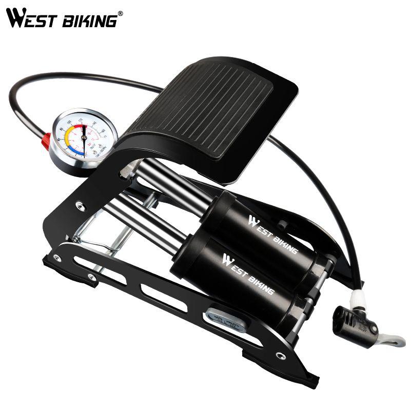 WEST RADFAHREN Fahrrad Fuß Luftpumpe Hochdruck Rutschfesten Radfahren Pumpe Doppelrohr Schrader Presta Auto Motorrad MTB Bike Pumpe