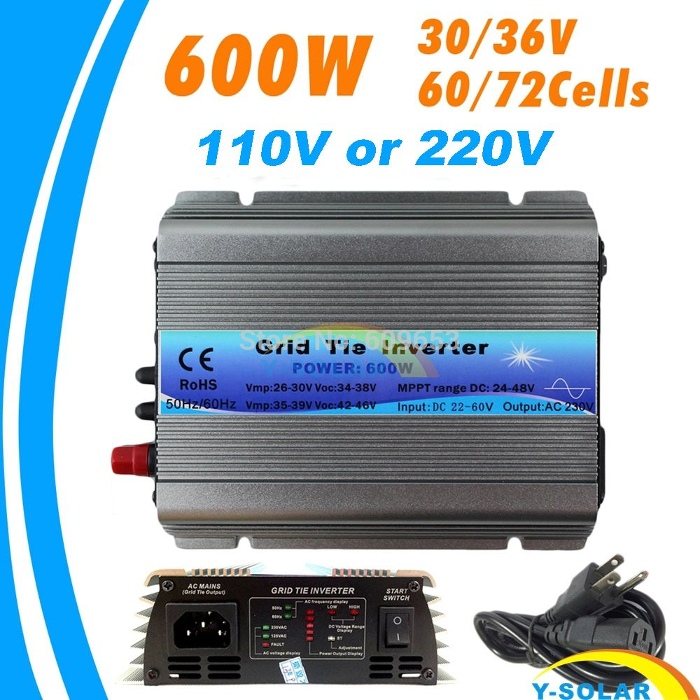600W MPPT micro Grid Tie Inverter 30V 36V Panel 72 Cells Function Pure Sine Wave 110V 220V Output On Grid Tie Inverter 22-60V DC