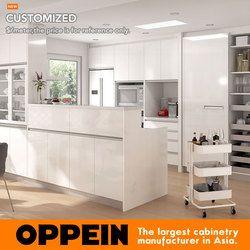 Guangzhou OP16-HPL06 HPL Putih Lemari Dapur Modern
