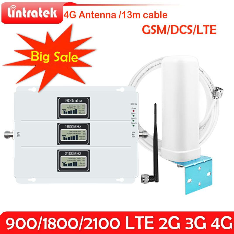 Lintratek 2G 3G 4G Tri- band Signal Booster 70dB GSM 900 LTE 1800 WCDMA 2100 mhz Mobile Cellular Signal Repeater 3G 4G Antennas