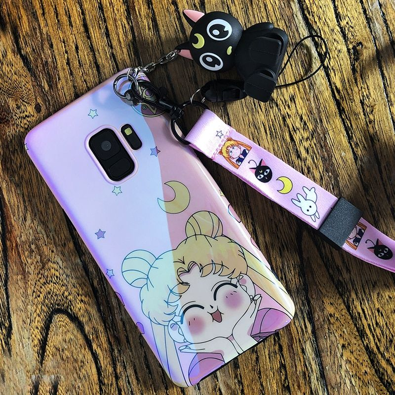 for Samsung S9 S10 plus Cute Sailor moon back Case For Samsung S8 S8plus note8 note9 S7edge Soft back cover + luna cat toy+strap