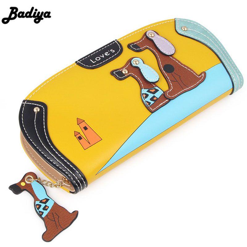 Mode mignon Long portefeuille femmes PU cuir Cartoon chien sac dame embrayage coque de téléphone chiot carte à glissière titulaire femelle changer sacs à main