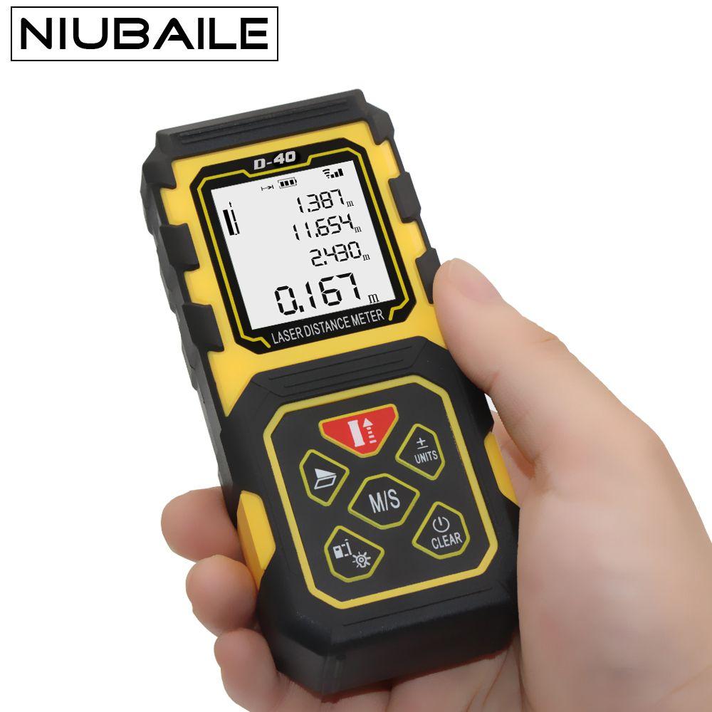 NIUBAILE Laser Rangefinder 40M Digital Measure Roulette Laser Distance Meter Electronic Tape Measures trena laser D40-Y
