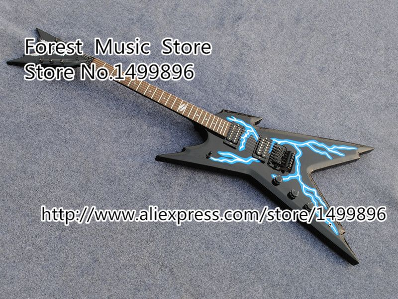 Hot Selling Left Handed Dean Dimebag Razorback Electric Guitar China OEM Lightning Graphic Top Guitarra