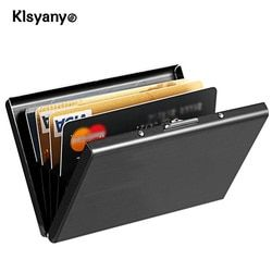 Klsyanyo Black Stainless Steel  Metal Case Box Men Women Business Credit Card Holder Case Cover Coin Wallet