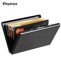 Klsyanyo negro Acero inoxidable metal caja hombres mujeres negocio tarjeta de crédito titular de la cubierta carpeta de la moneda