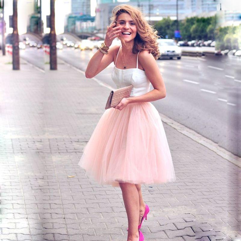 5 couches 60cm Midi Tulle Jupe princesse femmes adulte Tutu mode vêtements Faldas Saia Femininas Jupe Style d'été