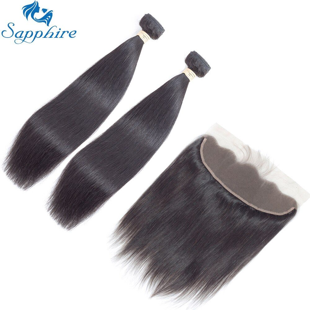 Sapphire Brazilian Straight Human Hair Bundles With Lace Frontal Closure For Salon 100% Remy Human Hair 2/3 Bundles With Closure