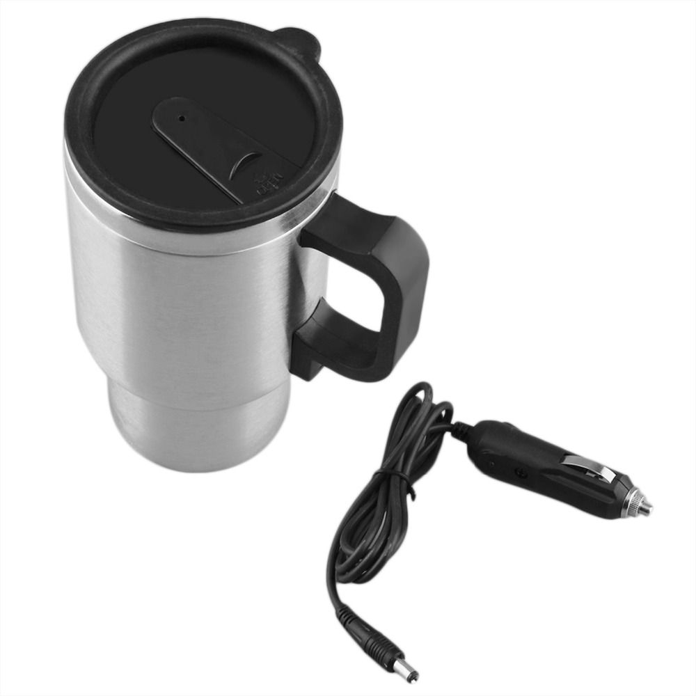 New Stainless Steel Heated Travel Cup Silver and BlacK Vehicle Mounted Cup Heated Travel Mug 12V 500ML with Cable Drop Shipping