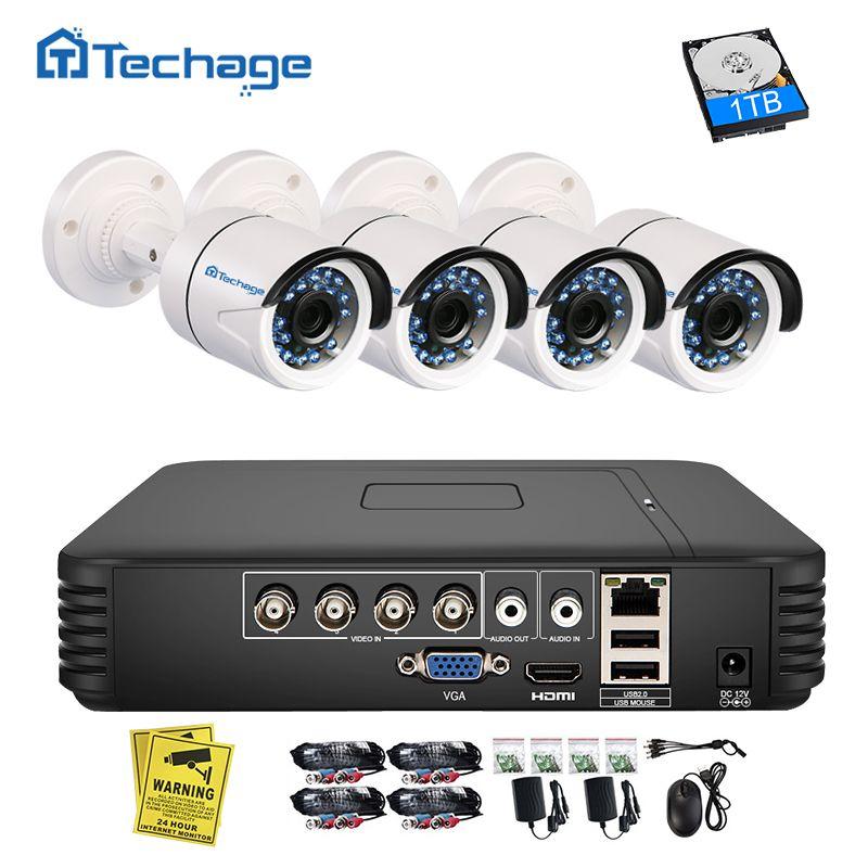 Techage 4CH 720P AHD DVR CCTV System 1.0MP <font><b>1200TVL</b></font> IR Night Vision Indoor Outdoor Camera Home Security Video Surveillance Kit