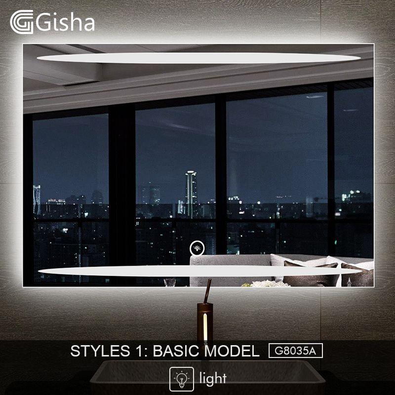 Gisha Smart Spiegel LED Bad Spiegel Wand Bad Spiegel Bad Wc Anti-fog-Spiegel Mit Bluetooth Touchscreen G8035