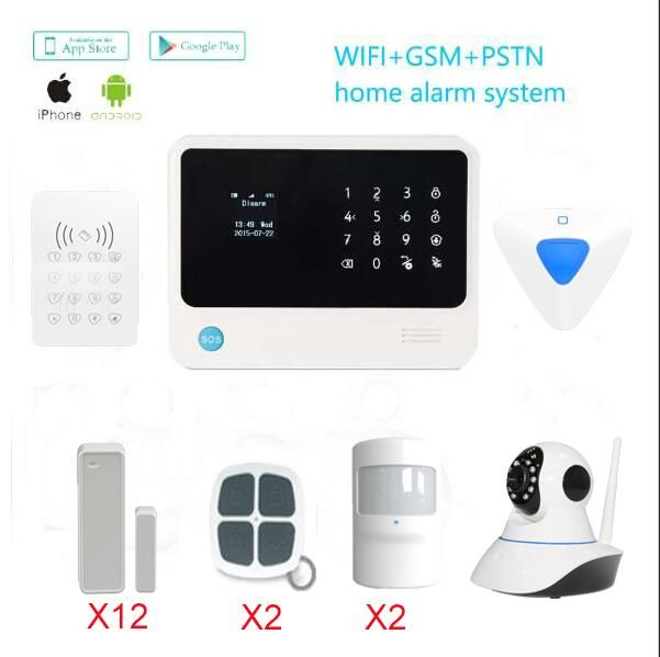 433mhz wireless GSM alarm system work with IP camera wireless PIR motion detector wireless Door/Window sensor for alarm system