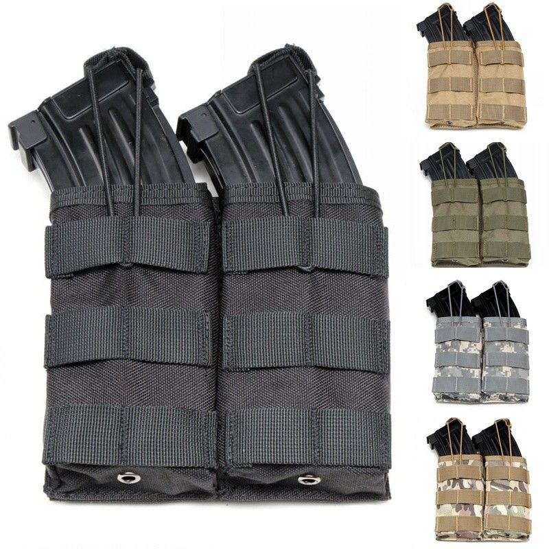CQC Molle System 1000D Nylon Double Open Top M4 Magazine Pouch Airsoft Tactical AK AR M4 AR15 Rifle Pistol Mag Pouch