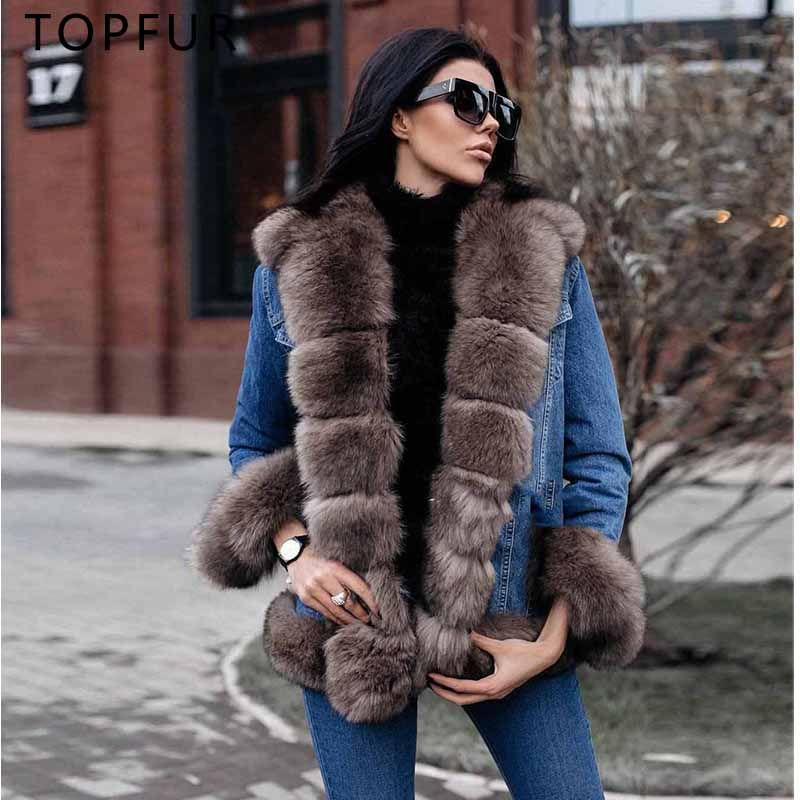 TOPFUR 2018 New Arrival Real Fur Coat Casual Denim Jacket For Women With Luxury Fox Fur Collar High Quality Fox Fur Parka Hot