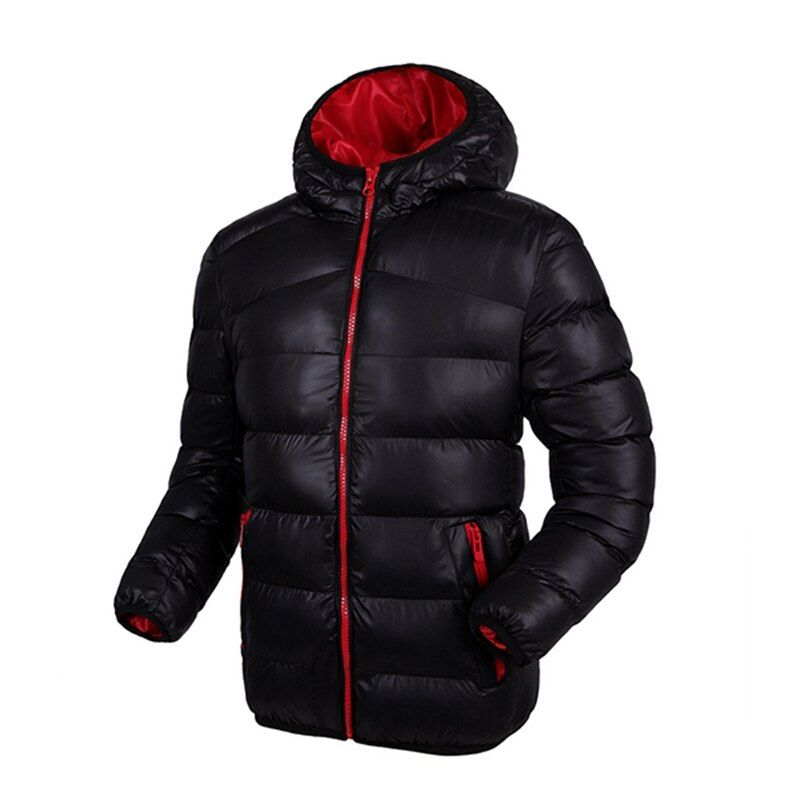 Hooded Windproof Warm Winter Jackets Mens Coat Plus Size Fashion Contrast Color Lining Padded Down Jacket Casacos Masculino