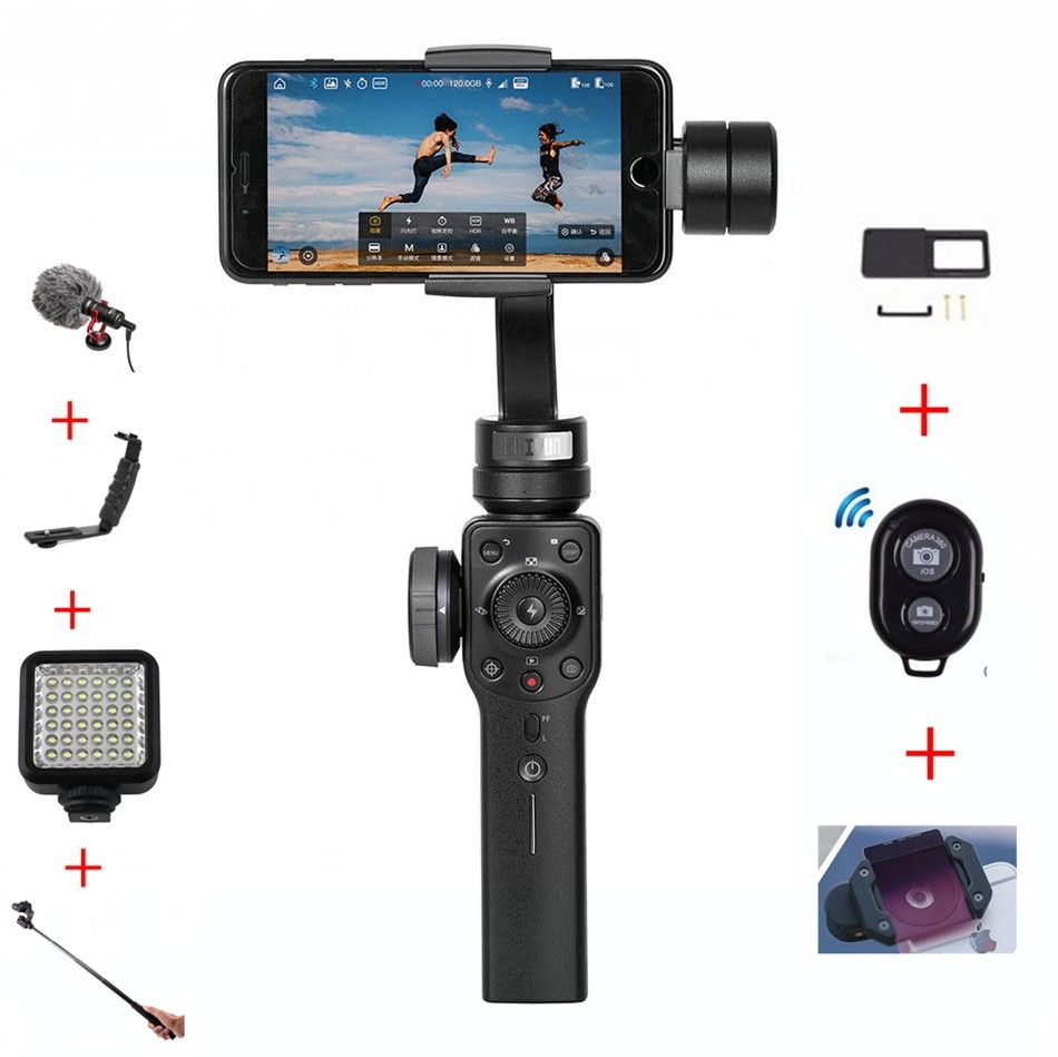 Zhiyun Smooth 4 Handheld 3-Axis Brushless Gimbal Stabilizer for iPhone X Samsung for gopro with Focus PK DJI Osmo 2