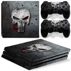 Skull Design PS4 Pro Vinyl Removable Waterproof Decal Skin Sticker for Sony Playstation 4 Pro Console&Controller Protector Cover