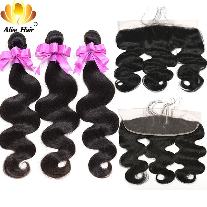 Aliafee Brazilian Body Wave Buy 3 Pcs Get Ear to Ear Lace Frontal Closure Non Remy Human Hair Bundles With Frontal Black Friday