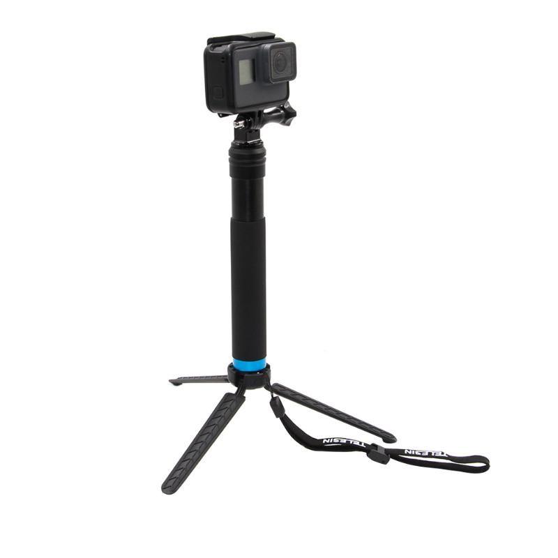 Алюминий сплав Выдвижная полюс палка для селфи монопод Штатив для GoPro Hero 4 5 6 SJCAM